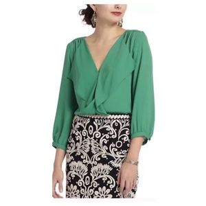 ANTHROPOLOGIE MAEVE Green Ruffle Front Blo…